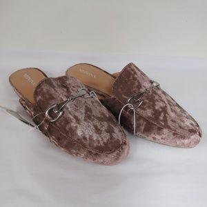 Merona Pink Velour Kona Backless Mule Loafers